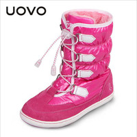 2016 UOVO Brand High Quality Winter Children Boots Warm Snowsuit Girls Boots Leather Snow boots Girls Cotton Shoes Kids Boots