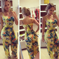 2015 New Summer Rompers Womens Jumpsuit Strappy Halter Playsuit Sexy Yellow Floral Print Backless Long Pants = 1932318020