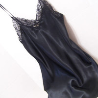 Black, Liquid Satin, Sexy Night Gown, Short Chemise, Lace, Victoria Secret Nightgown Size Extra Small, Bridal Honeymoon