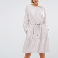 Warehouse Oversized Tiered Smock Dress at asos.com