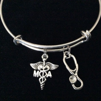 MA Medical Assistant Silver Charm Bangle Bracelet Expandable and Adjustable to of one size fits All