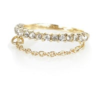 River Island Womens Gold tone rhinestone chain finger top ring