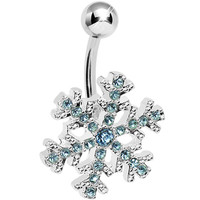 Aqua Gem Icy Cold Winter Snowflake Belly Ring | Body Candy Body Jewelry
