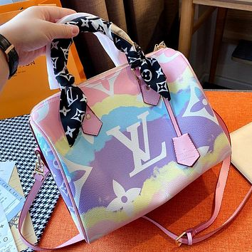 LV Rainbow Colorblock Print Tote Bag Shoulder Bag Crossbody Bag