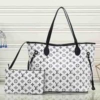 Perfect Louis Vuitton Women Fashion Leather Satchel Bag Shoulder Bag Handbag Crossbody Set Two Piece