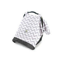 Cozy Happens Muslin Infant Car Seat Canopy - C Grey Chevron
