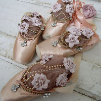 Pink worn ballet point shoes wall hanging shabby cottage chic faded slippers embellished dipped pink roses pearls decor anita spero design