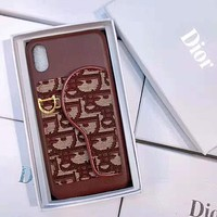 Dior Fashion iPhone Phone Cover Case For iphone 6 6s 6plus 6s-plus 7 7plus 8 8plus iPhone X XR XS XS MAX Burgundy