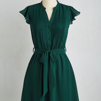 Mid-length Short Sleeves A-line Thesis, That, and the Other Thing Dress in Teal