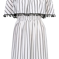 White Off Shoulder Stripe Print Overlay Pom Pom Detail Dress