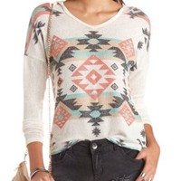 Tribal Print Sweater Knit High-Low Hoodie - Ivory Combo