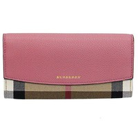 BURBERRY Womens Beige Pink Horseferry Check Leather Continental Porter Wallet