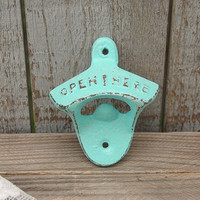 Bottle Opener, Wall Mounted, Shabby Chic, Mint Green, Green, Hand Painted, Cast Iron, Metal, Distressed, Beach Decor, Open Here