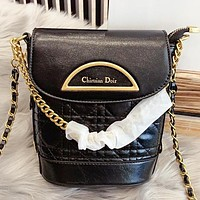 Dior New fashion leather chain shoulder bag crossbody bag bucket bag handbag Black