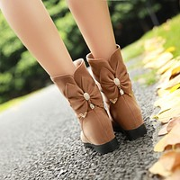 Rhinestone Bow Ankle Boots Women Shoes Fall Winter 5536
