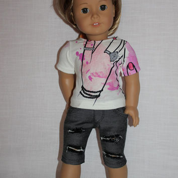 """18 inch doll clothes, graphic print """"bling ring"""" t- shirt, grey ripped knee length capris, american girl ,maplelea"""