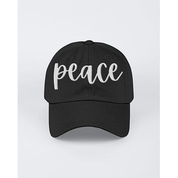 Peace White Graphic Text Style Yupoong Adult 6 Panel Structured Flat Visor Snapback