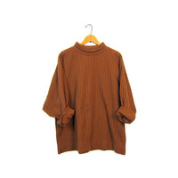 Plain Rust Brown Ribbed Shirt Oversize Slouchy Long Sleeve Top Turtleneck Textured Knit Boxy Basic Jumper Boho Hipster Vintage Large XL