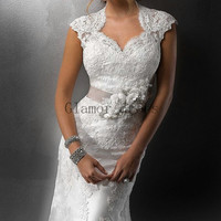 white lace wedding dress with court train   sexy elegant cap sleeves wedding gowns  cheap v-neck  bridal dress hot
