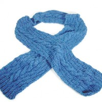 Hand Knit Olympic Blue Scarf