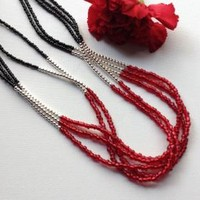 Black Red and Silver Multi Strand Statement Necklace