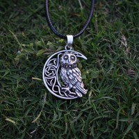 Owl Coin Necklace Goddess Crescent Moon Necklaces Moon Pendant Wicca Celtic Pagan Amulet