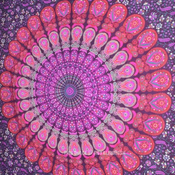 Purple Mandala Wall Tapestry, Indian Cotton Bedding Twin Bedspread on RoyalFurnish.com