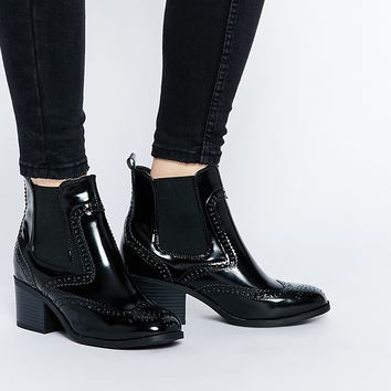 New Look Patent Block Heeled Ankle Boot