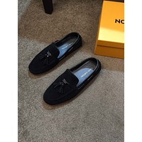LV Louis Vuitton Men's Leather Fashion Monte Carlo Loafers Shoes