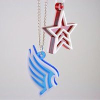 Mass Effect Paragon and Renegade Friendship Necklaces - LaserCut Acrylic - SALE PRICE