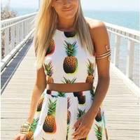 Pineapple Pattern Summer Fashion Style Lovely Women Clothing = 4697441796