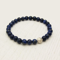 Lapis Lazuli Starry Night Bracelet with Brushed Sterling Silver / navy blue gold / nautical sky star sea inspired / diamond silver focal be