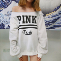 """PINK"" Victoria's Secret Print Off Shoulder Top Shirt Pullover Sweater"