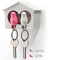 Couple Sparrow Birdhouse Key Holder Ring Whistle - White House Pink-White Bird = 1930117444