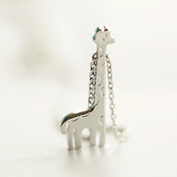 Cute giraffe necklace,925 Sterling silver necklace,Silver necklace