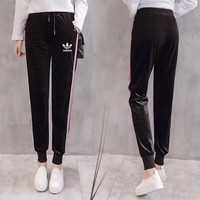 """Adidas"" Women Sport Casual Fashion Velvet Multicolor Stripe Sweatpants Leisure Pants Trousers"