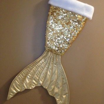 Mermaid tail Christmas stocking -gold sequin-gold shiny tail