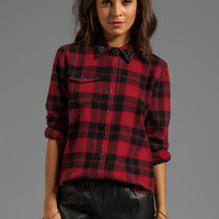PJK Patterson J. Kincaid Flint Flannel Top with Embellished Collar in Red Multi from REVOLVEclothing.com