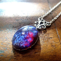 Dragons Breath Opal Necklace - Fire Opal - Fantasy Jewelry - Wiccan Necklace - Gothic Necklace - Mystical Necklace - Choose Chain Length