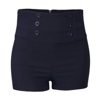 Womens High Waisted Sailor Shorts with Stretch