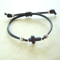 Black Leather and Stone Cross Bracelet: For men and women. Adjustable clasp.