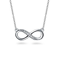 Infinity Forever Love Pendant Figure Eight CZ Sterling Silver Necklace