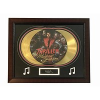 "Michael Jackson ""Thriller"" Lp Gold Record Photo Disk Collage Facsimile Signed"