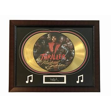 """Michael Jackson """"Thriller"""" Lp Gold Record Photo Disk Collage Facsimile Signed"""