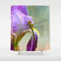 Say Hello To Spring - Dragonfly on Flower Shower Curtain by Jai Johnson