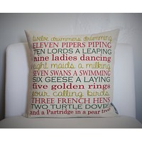 Christmas pillow cover, twelve days of Christmas, Christmas decor, 12 days of Christmas