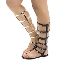 Joanie126 By Wild Diva, Jelly Knee High Gladiator Multi Buckle Thong Flat Sandals