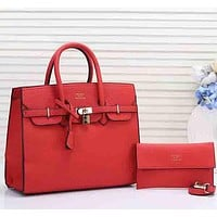 Hermes Women Leather Fashion Handbag Clutch Bag Satchel Set Two Piece