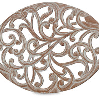 Oval Wooden Cutout Place Mat, White, Placemats