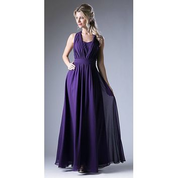 Convertible Long Evening Dress Eggplant A Line Multiple Styles